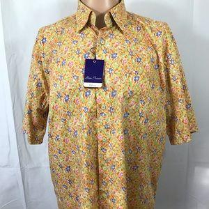 Alan Flusser Floral Short Sleeve Shirt New XL